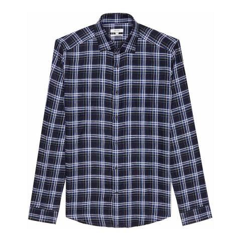 Reiss Midnight Carzorla Check Slim Linen Shirt