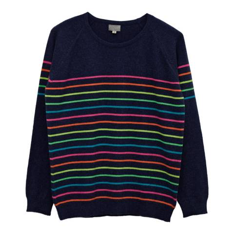 Cove Cashmere Navy/Multi Poppy Round Neck Cashmere Jumper