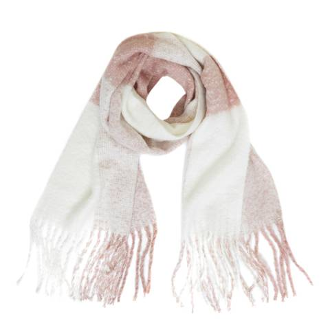 Great Plains Milk/Dusty Pink Check Print Scarf