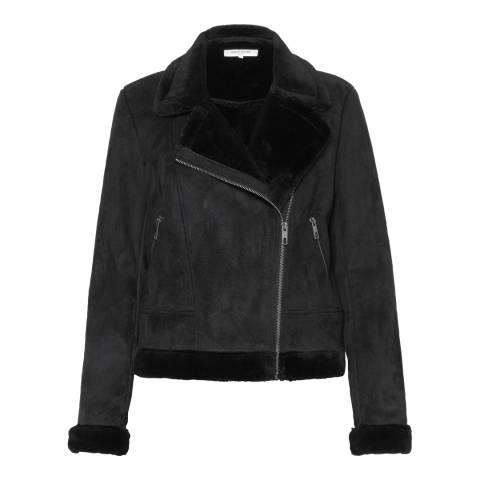 Great Plains Black Faux Shearling Biker Jacket