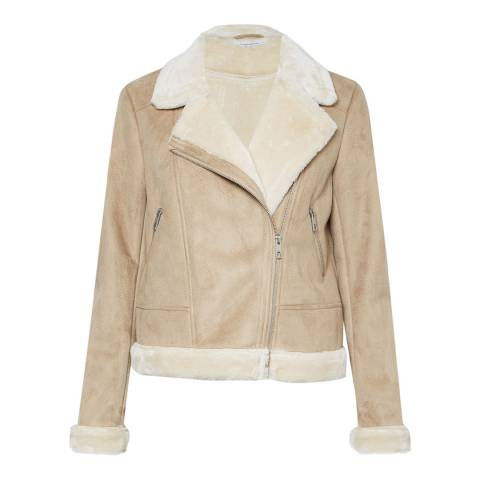 Great Plains Sand Faux Shearling Biker Jacket