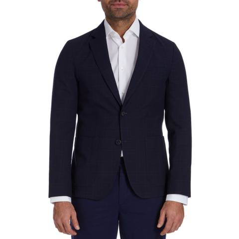 Tommy Hilfiger Navy/Blue Check Tailored Wool Blend Jacket