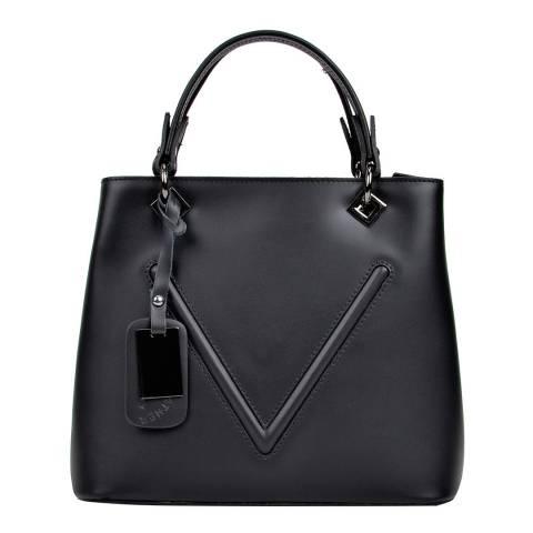 Sofia Cardoni Black Leather Tote Bag