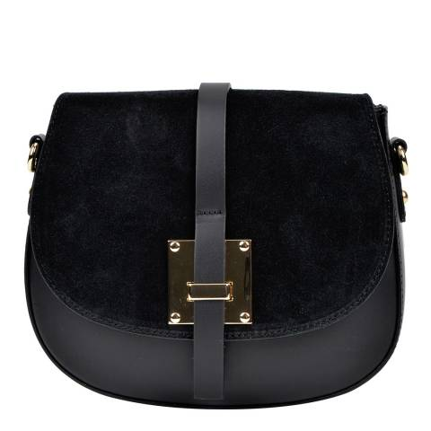 Sofia Cardoni Black Leather Flap Over Shoulder Bag