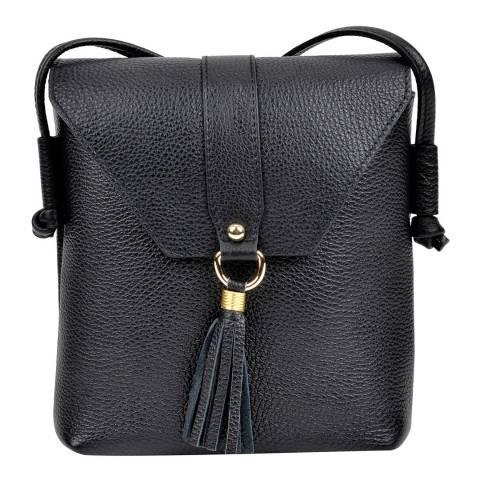 Sofia Cardoni Black Leather Tassel Shoulder Bag