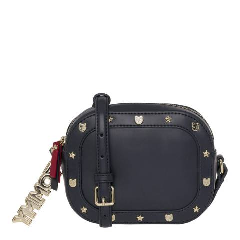 Tommy Hilfiger Blue Mascot Round Studded Crossover Bag