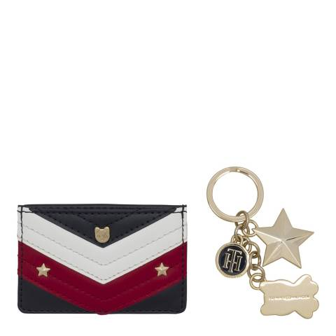 Tommy Hilfiger Blue Mascot Leather Card Holder and Key Ring Giftset