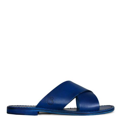 Oliver Sweeney Blue Leather Meana Flat Sandals