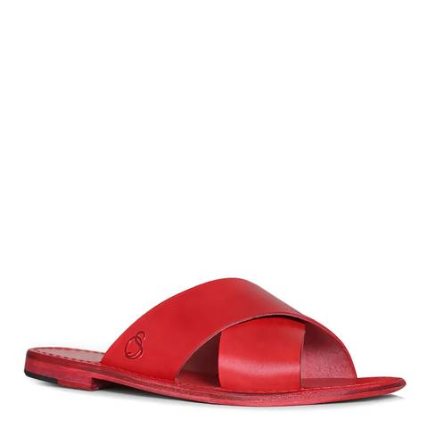 Oliver Sweeney Red Leather Meana Flat Sandals