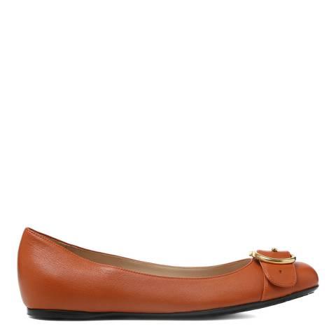 Gucci Burnt Orange Leather GG Buckle Flats