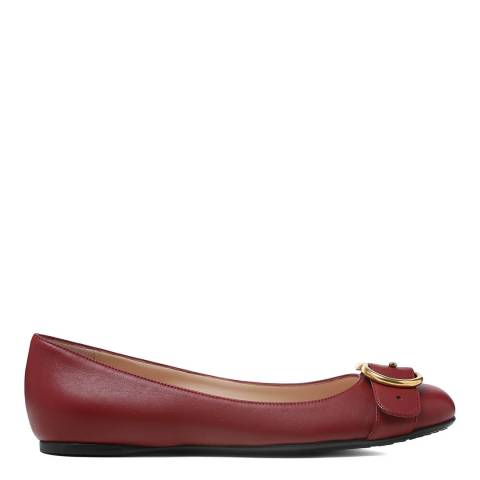 Gucci Red Wine Leather GG Buckle Flats