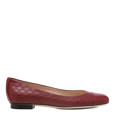 Gucci Burgundy Leather Gucci Embossed Flats
