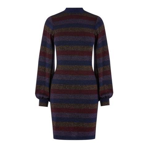 Warehouse Multi Glitter Stripe Knitted Dress