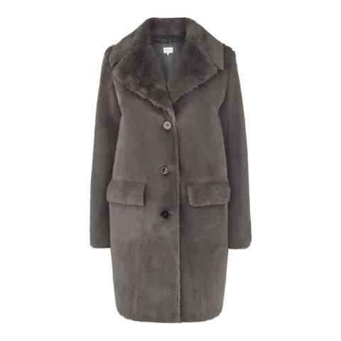 Warehouse Dark Grey Longline Femme Faux Fur Coat