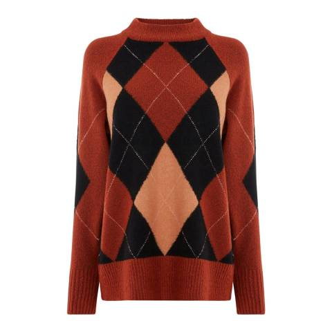 Warehouse Brown/Multi Argyll Relaxed Jumper