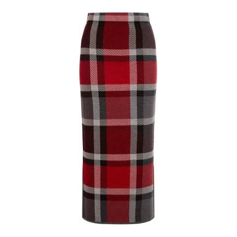 Warehouse Berry Check Midi Skirt