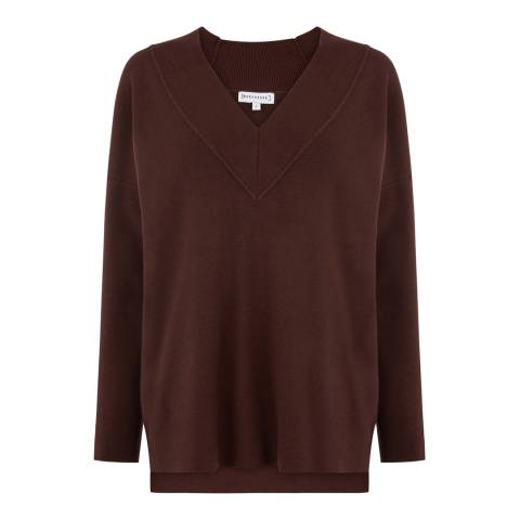 Warehouse Chocolate Solid Deep V Neck Jumper