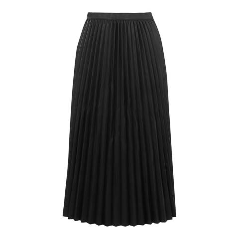 Warehouse Black Faux Leather Pleated Skirt