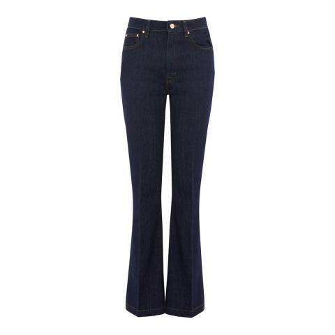 Warehouse Dark Wash Denim Flare High Rise Jeans