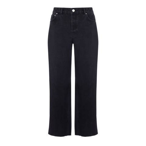 Warehouse Black Straight Mid Rise Jeans