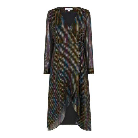 Warehouse Multi Rainbow Foil Midi Dress