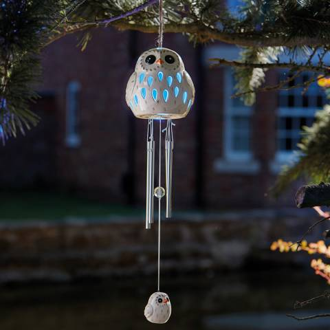 Smart Solar Ceramic Snowy Owl Wind Chime