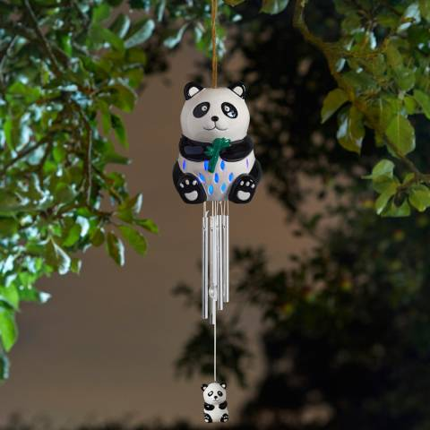 Smart Solar Ceramic Panda Wind Chime