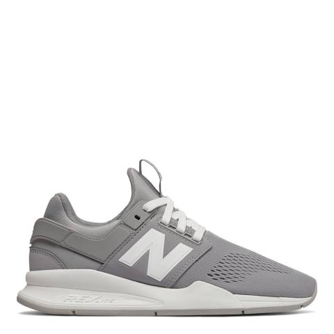 New Balance Grey & White 247 Mesh Sneakers
