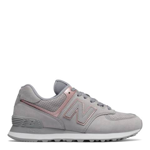 New Balance Grey & Pink 574 Classic Sneaker