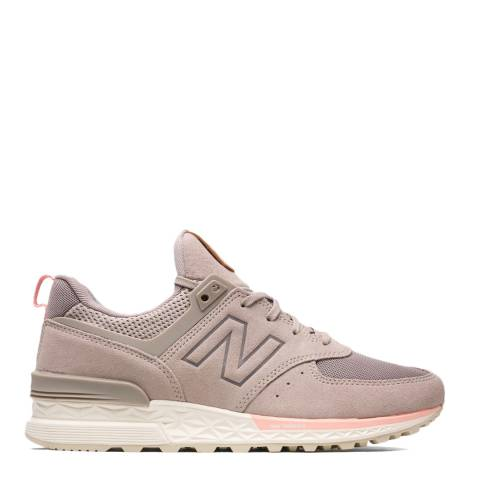 New Balance Pink Suede & Mesh 574 Sport Sneakers
