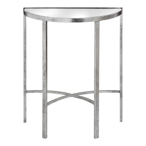 Hill Interiors Mirrored Silver Half Moon Table