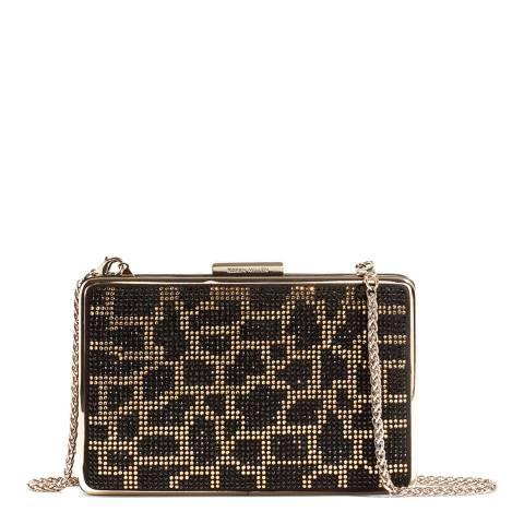 Karen Millen Black Atelier Leopard Embellished Clutch