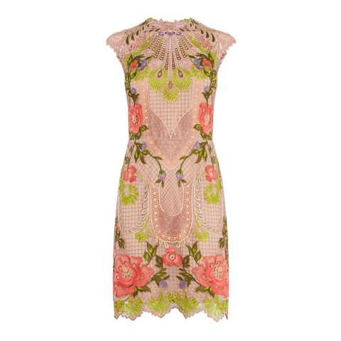 Karen Millen Nude/Multi Chemical Lace Embroidered Dress
