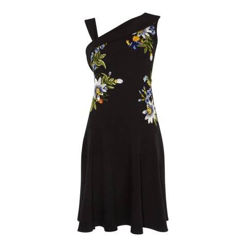 Karen Millen Black Passion Embroidered Skater Dress