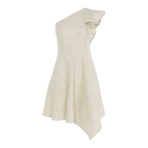 Karen Millen Cream Studded Jacquard Dress