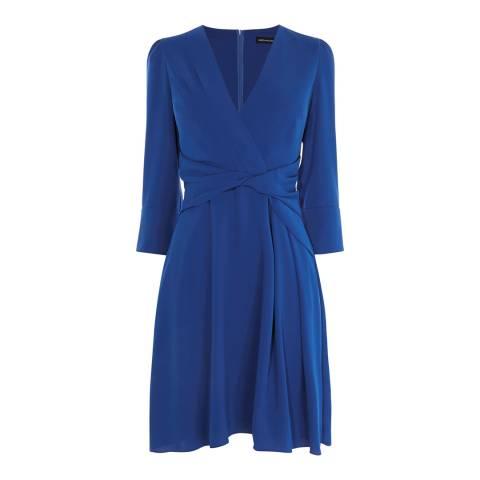 Karen Millen Blue Wrap Waist Crepe Dress