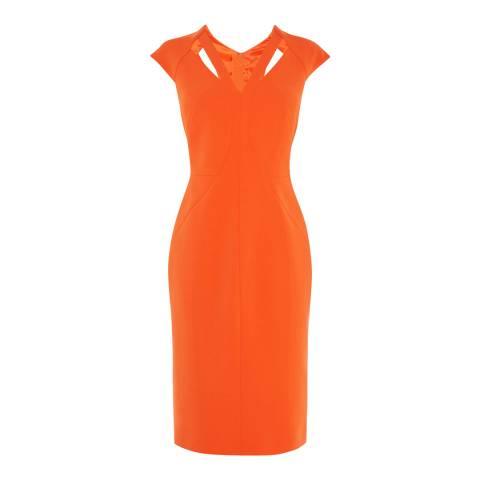 Karen Millen Orange Cut Out Contour Pencil Dress