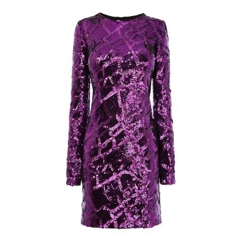 Karen Millen Dark Pink Metallic Sequin Bodycon Dress