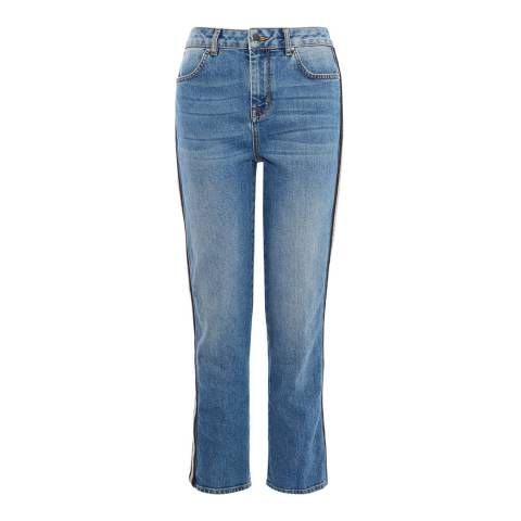 Karen Millen Mid Blue Beaded Side Skinny Stretch Jeans