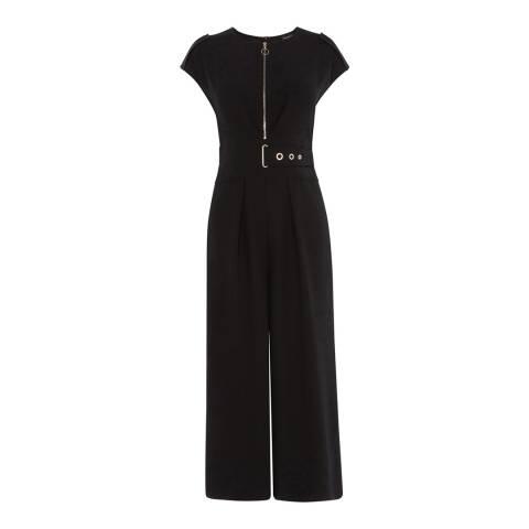 Karen Millen Black Interlaced Corsetry Waist Jumpsuit