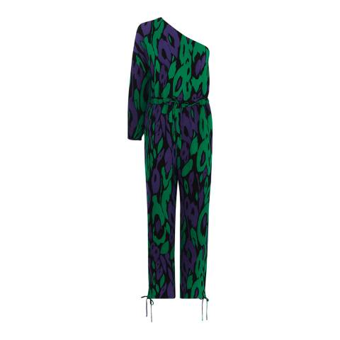 Karen Millen Green/Blue Animal Print Jumpsuit