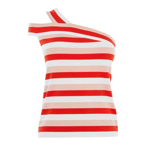 Karen Millen Red Striped One-Shoulder Top