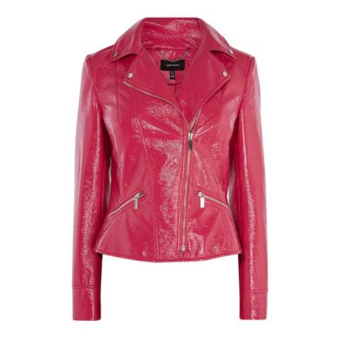 Karen Millen Pink Patent Biker Jacket
