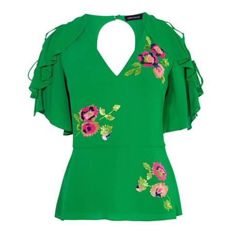 Karen Millen Green Floral Embellished Top