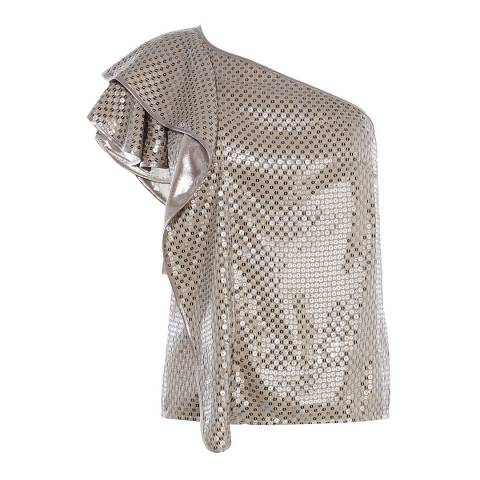Karen Millen Silver Sequin One-Shoulder Top