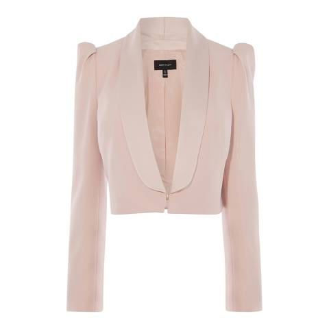 Karen Millen Pale Pink Shawl Collar Micro Jacket
