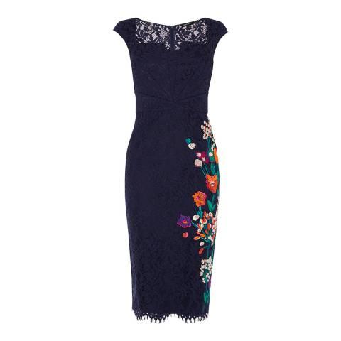 Karen Millen Navy Flower Bouquet Embroidery Lace Dress