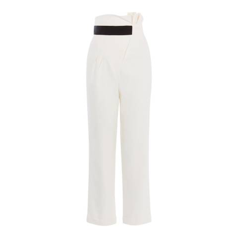 Karen Millen Ivory Ruched Waist Trousers