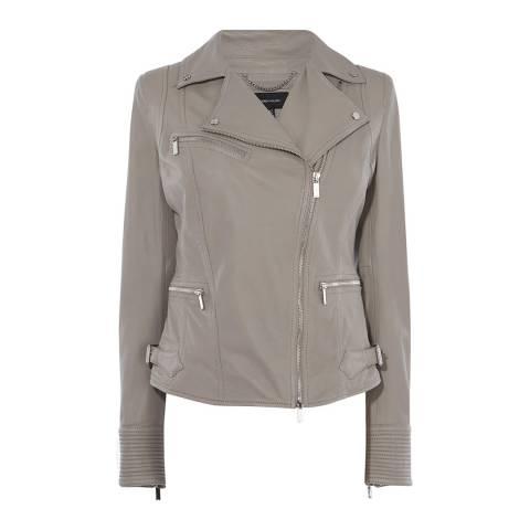 Karen Millen Grey Washed Biker Jacket