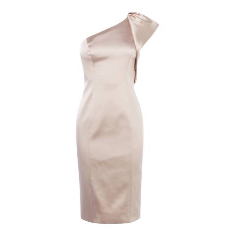 Karen Millen Champagne Satin One-Shoulder Dress